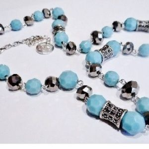 Vintage Crown Trifari Turquoise Marcasite Necklace